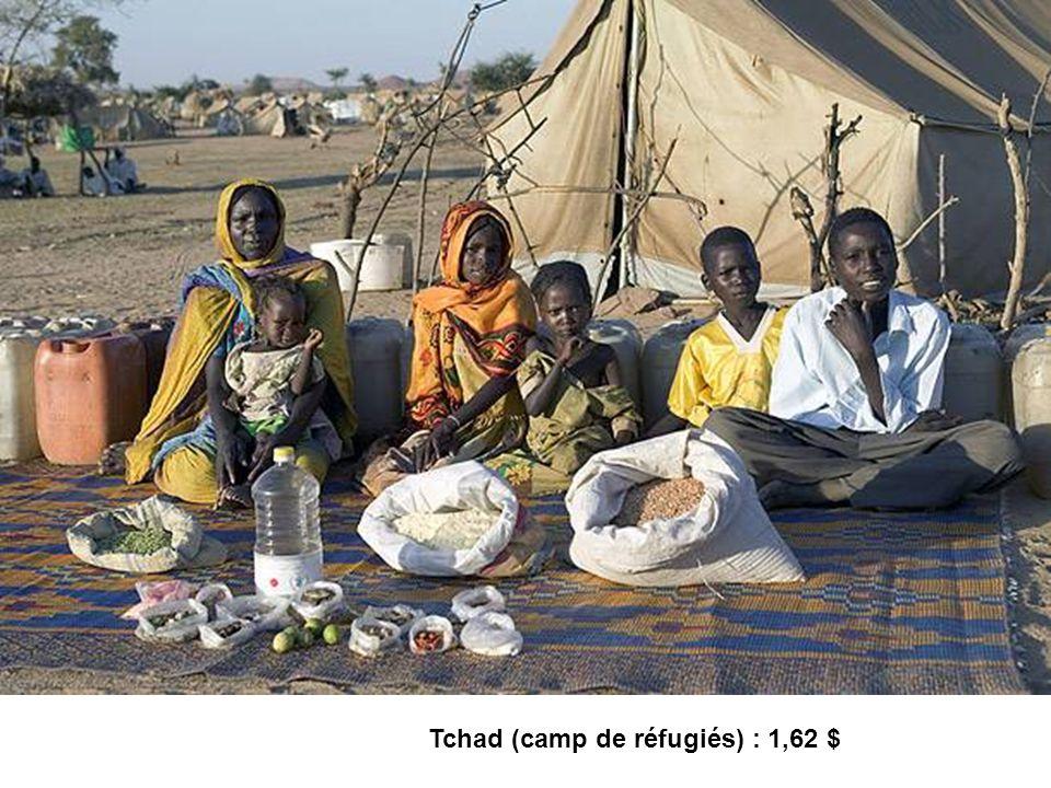 Tchad (camp de réfugiés) : 1,62 $