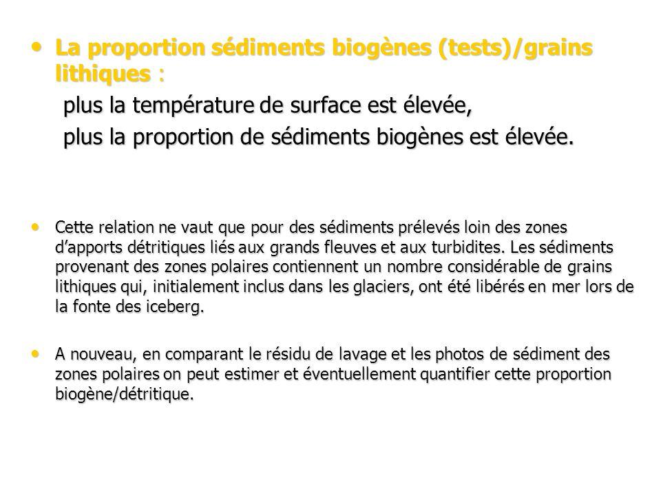 La proportion sédiments biogènes (tests)/grains lithiques : La proportion sédiments biogènes (tests)/grains lithiques : plus la température de surface est élevée, plus la proportion de sédiments biogènes est élevée.