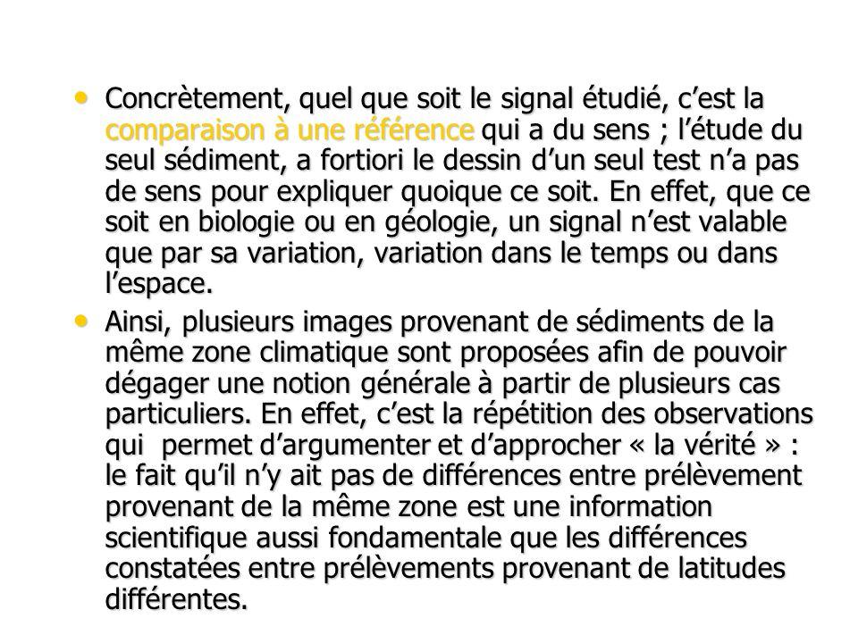Concrètement, quel que soit le signal étudié, cest la comparaison à une référence qui a du sens ; létude du seul sédiment, a fortiori le dessin dun seul test na pas de sens pour expliquer quoique ce soit.