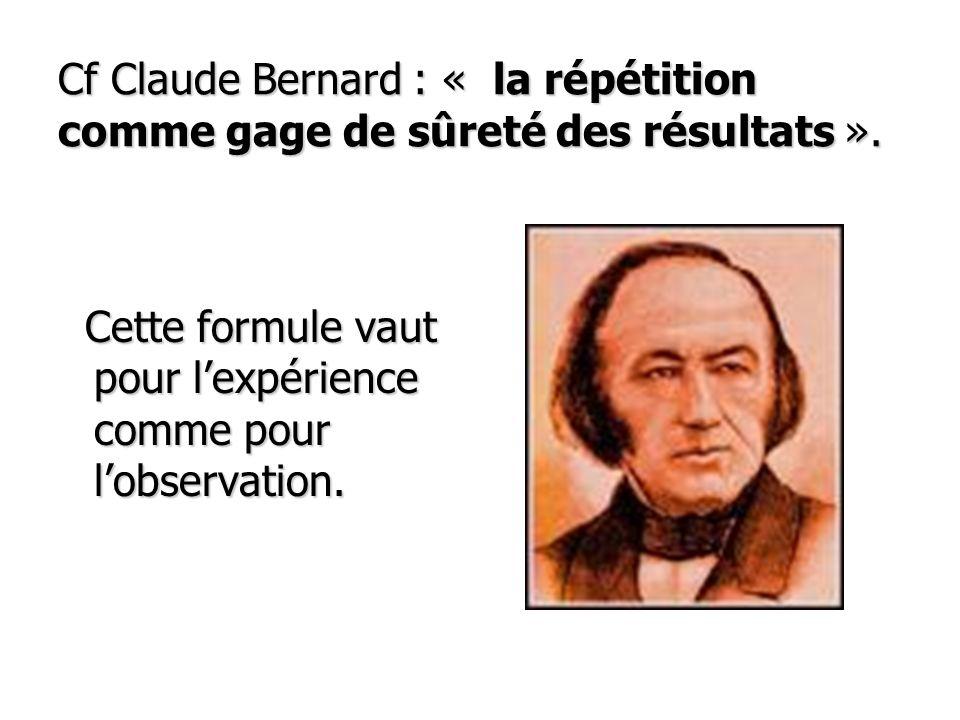 Cf Claude Bernard : « la répétition comme gage de sûreté des résultats ».