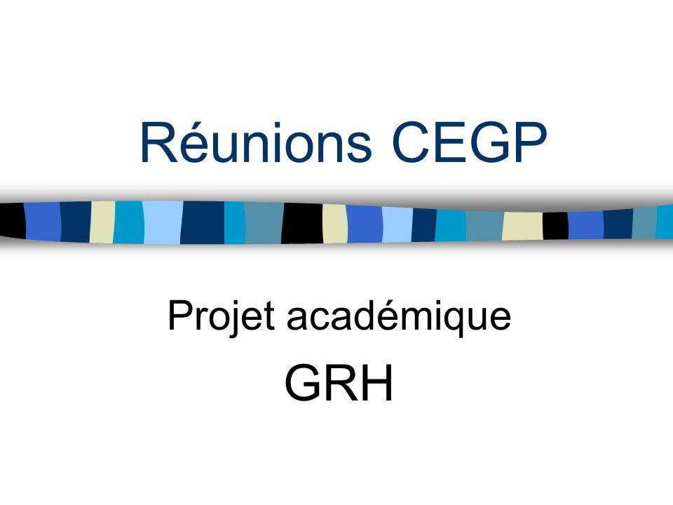 Réunions CEGP Projet académique GRH