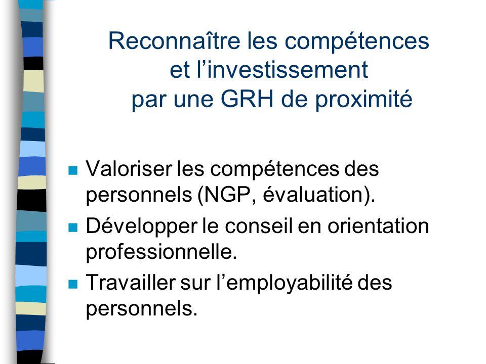 Reconnaître les compétences et linvestissement par une GRH de proximité n Valoriser les compétences des personnels (NGP, évaluation).