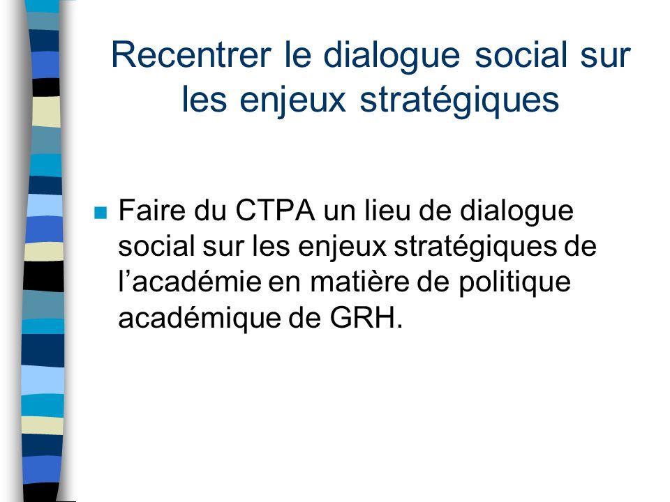 Recentrer le dialogue social sur les enjeux stratégiques n Faire du CTPA un lieu de dialogue social sur les enjeux stratégiques de lacadémie en matière de politique académique de GRH.