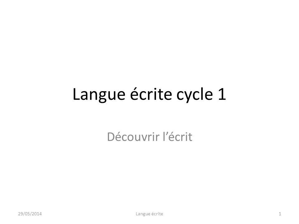 Langue écrite cycle 1 Découvrir lécrit 29/05/20141Langue écrite