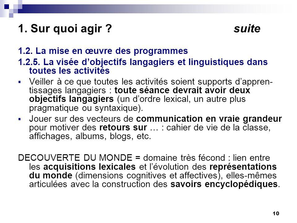 10 1. Sur quoi agir . suite 1.2. La mise en œuvre des programmes 1.2.5.