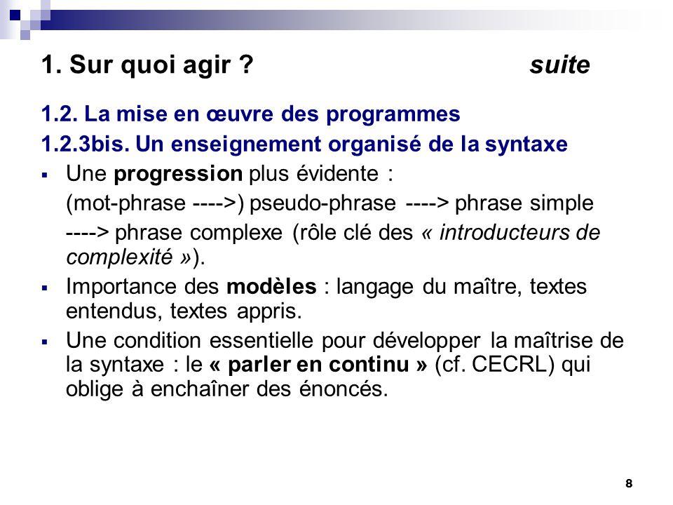 8 1. Sur quoi agir . suite 1.2. La mise en œuvre des programmes 1.2.3bis.