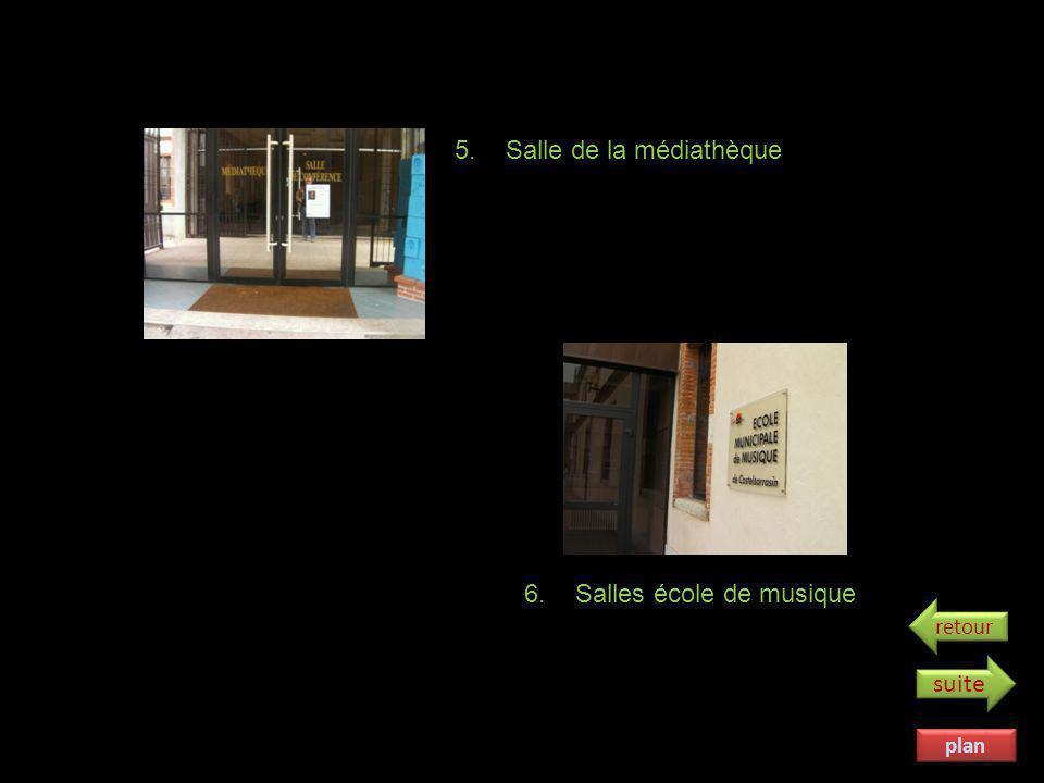plan 1. Cour Omer Sarraut 2. Cour de la médiathèque 3. Porche ancien collège 4. Jardin des écoliers suite