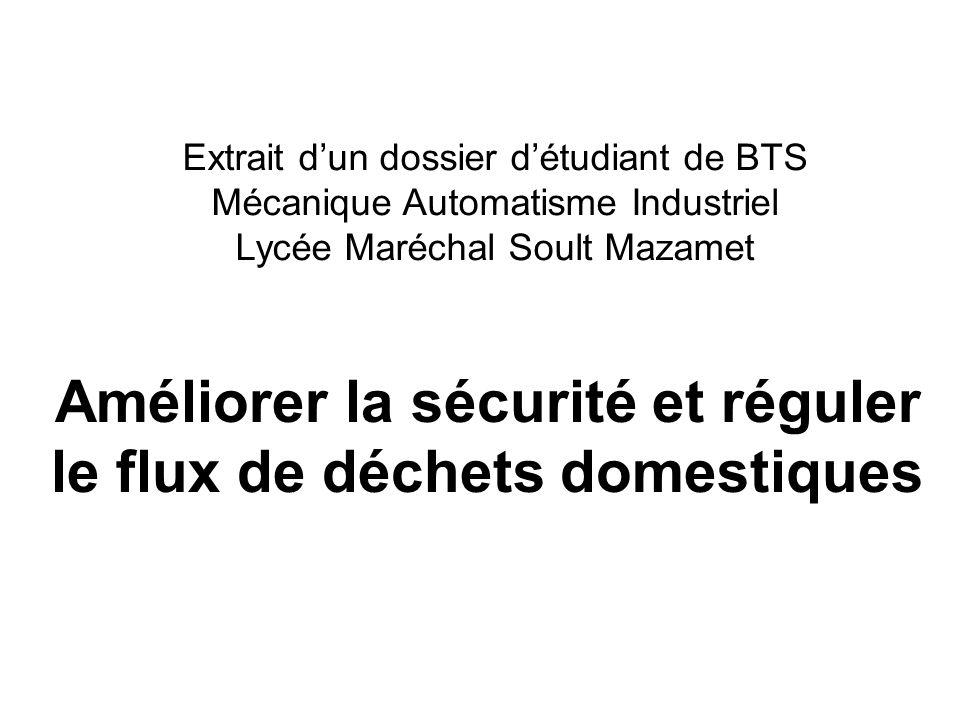 Améliorer la sécurité et réguler le flux de déchets domestiques Extrait dun dossier détudiant de BTS Mécanique Automatisme Industriel Lycée Maréchal S