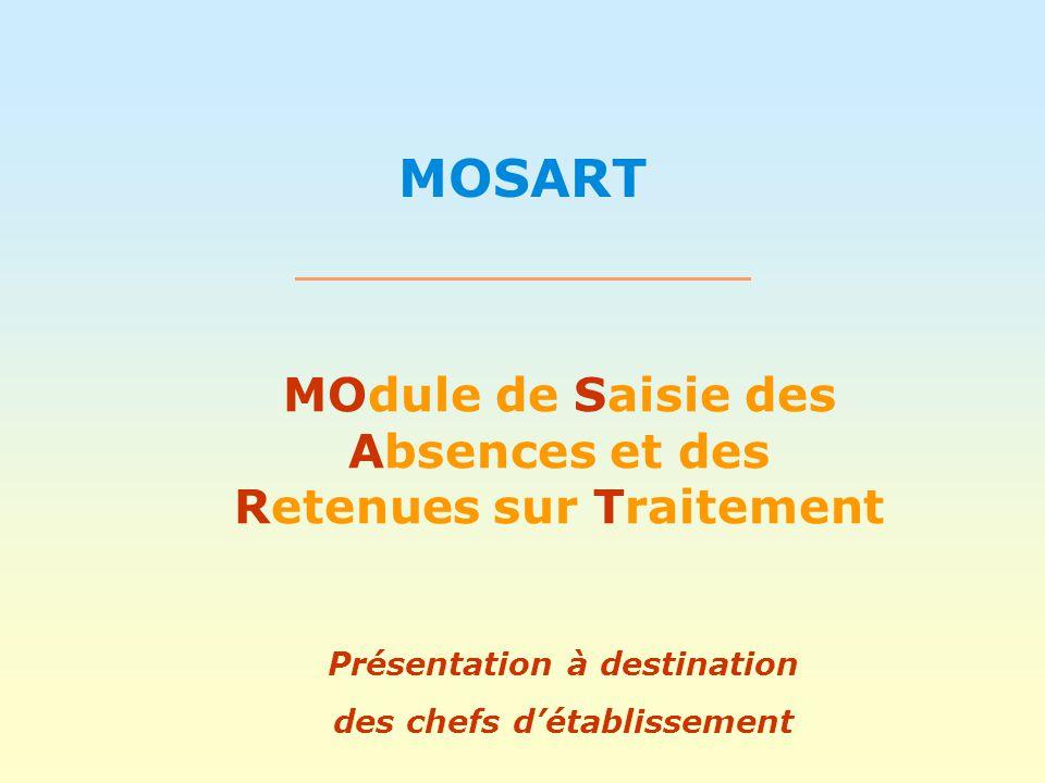 MOSART MOdule de Saisie des Absences et des Retenues sur Traitement Présentation à destination des chefs détablissement