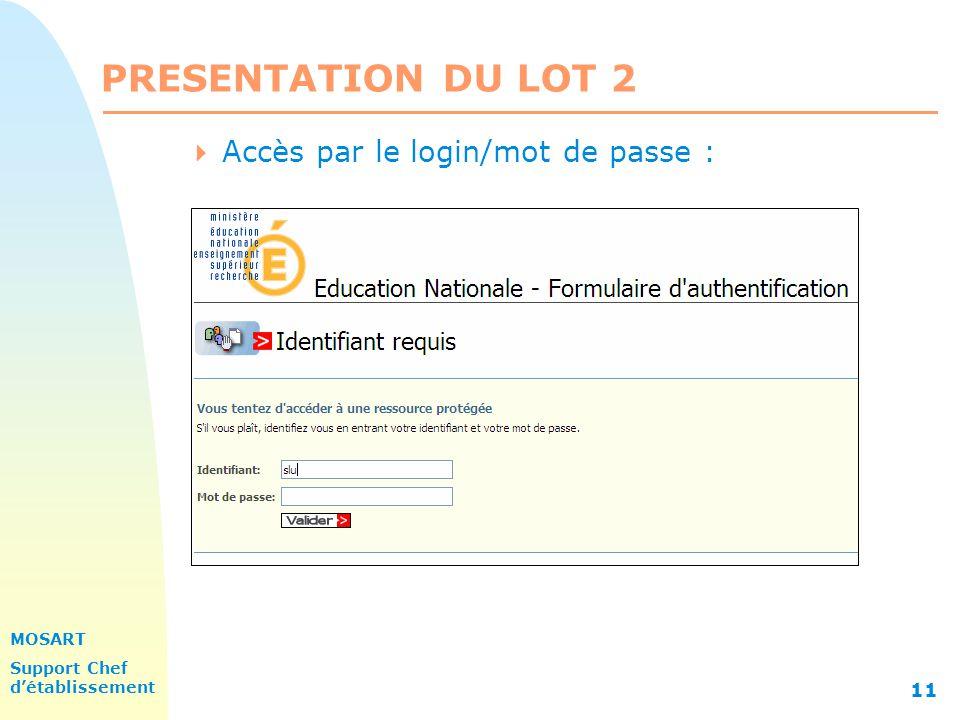 MOSART Support Chef détablissement 11 PRESENTATION DU LOT 2 Accès par le login/mot de passe :