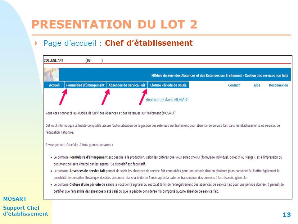 MOSART Support Chef détablissement 13 PRESENTATION DU LOT 2 Page daccueil : Chef détablissement