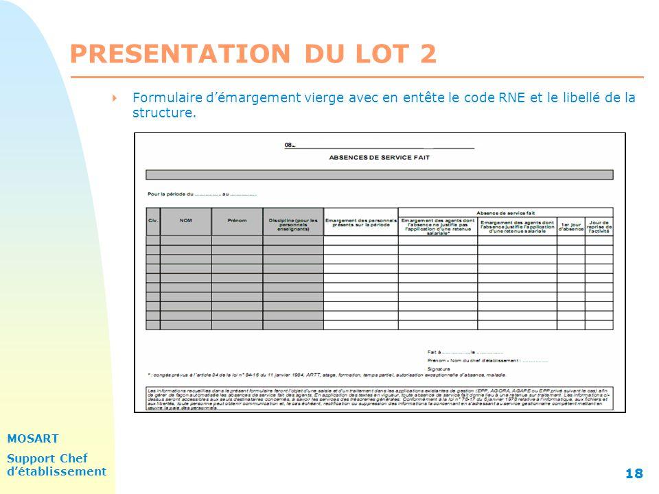MOSART Support Chef détablissement 18 PRESENTATION DU LOT 2 Formulaire démargement vierge avec en entête le code RNE et le libellé de la structure.