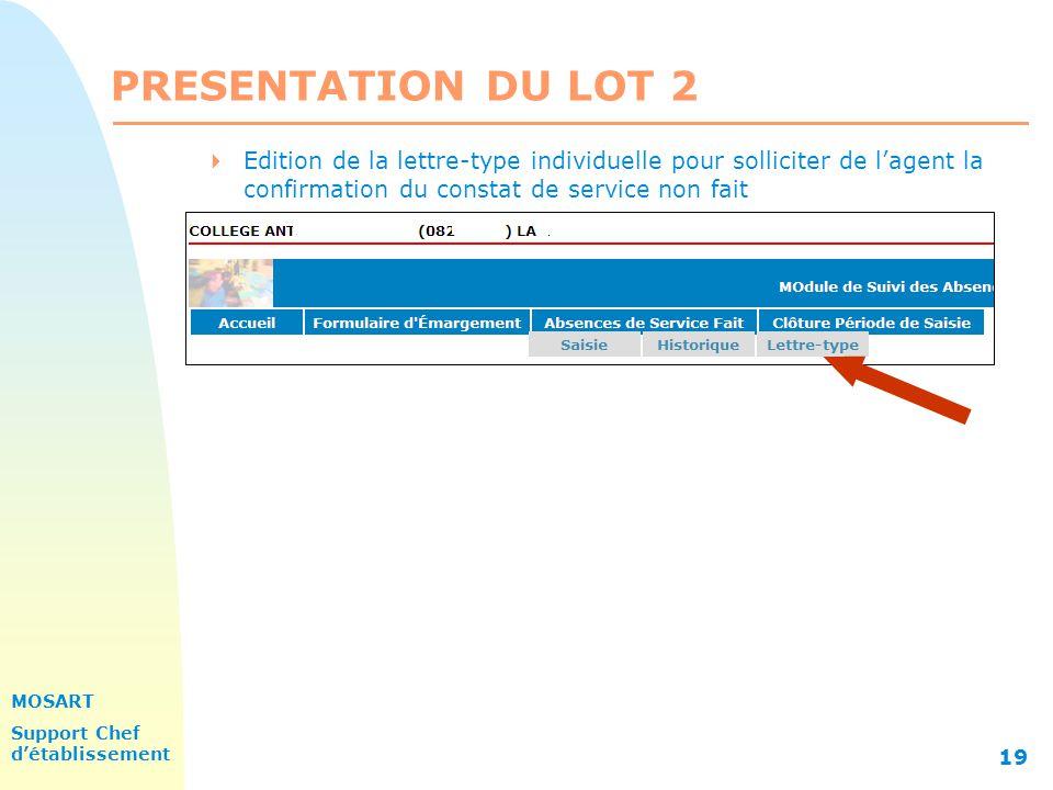 MOSART Support Chef détablissement 19 PRESENTATION DU LOT 2 Edition de la lettre-type individuelle pour solliciter de lagent la confirmation du constat de service non fait