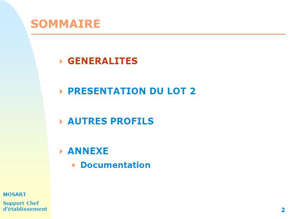 MOSART Support Chef détablissement 2 SOMMAIRE GENERALITES PRESENTATION DU LOT 2 AUTRES PROFILS ANNEXE Documentation
