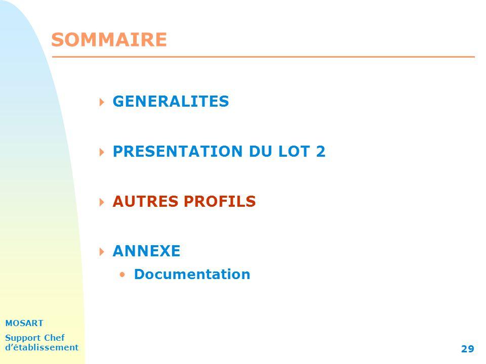 MOSART Support Chef détablissement 29 SOMMAIRE GENERALITES PRESENTATION DU LOT 2 AUTRES PROFILS ANNEXE Documentation