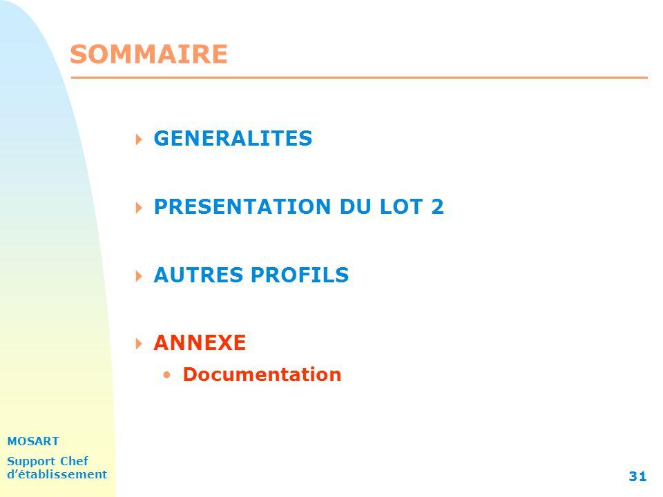 MOSART Support Chef détablissement 31 SOMMAIRE GENERALITES PRESENTATION DU LOT 2 AUTRES PROFILS ANNEXE Documentation