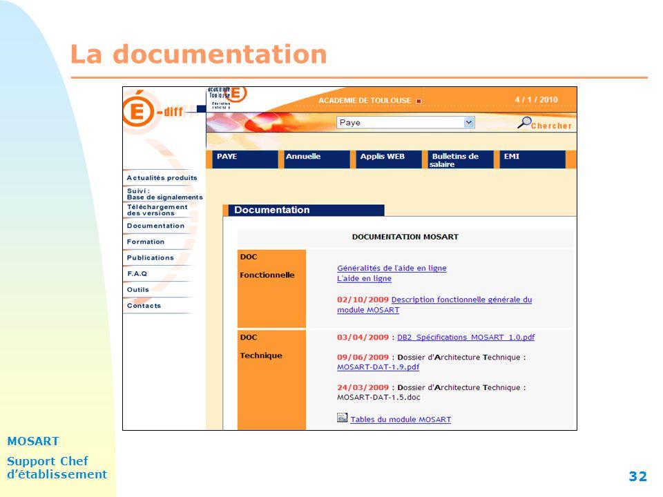 MOSART Support Chef détablissement 32 La documentation