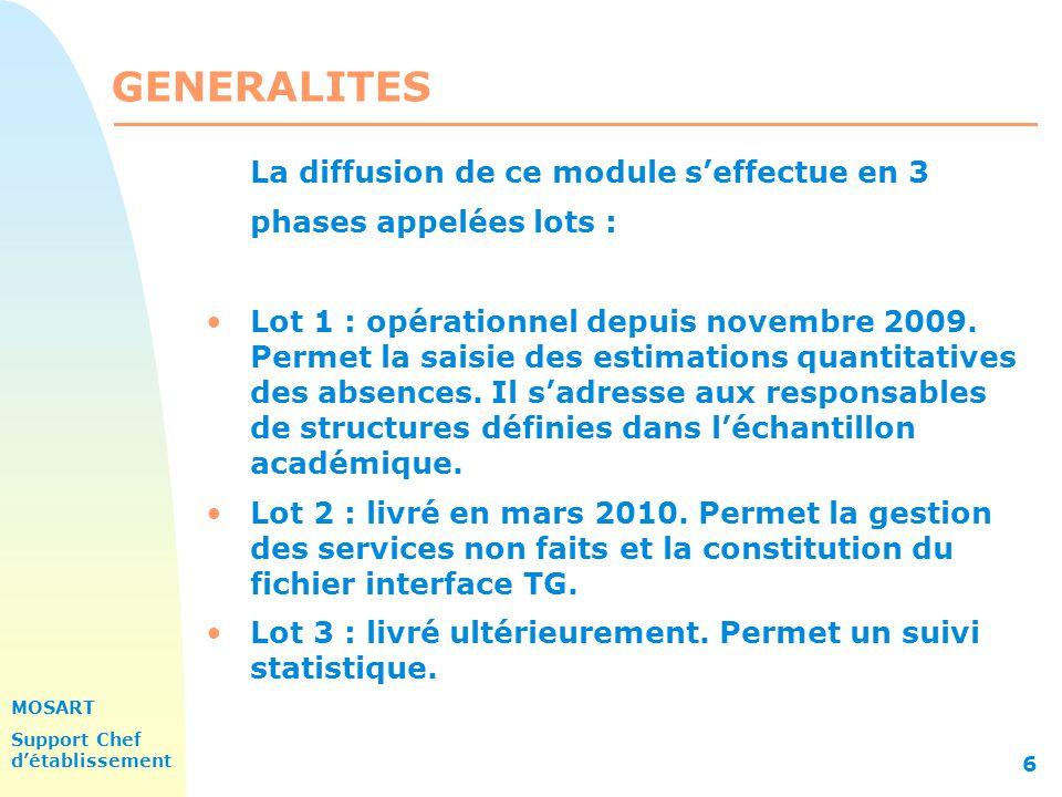 MOSART Support Chef détablissement 6 GENERALITES La diffusion de ce module seffectue en 3 phases appelées lots : Lot 1 : opérationnel depuis novembre 2009.