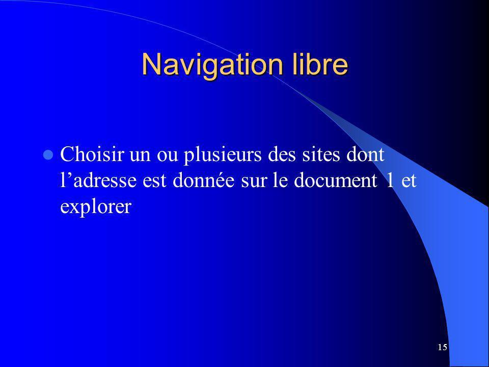 15 Navigation libre Choisir un ou plusieurs des sites dont ladresse est donnée sur le document 1 et explorer