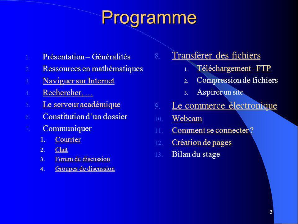 3 Programme 1. Présentation – Généralités 2. Ressources en mathématiques 3.