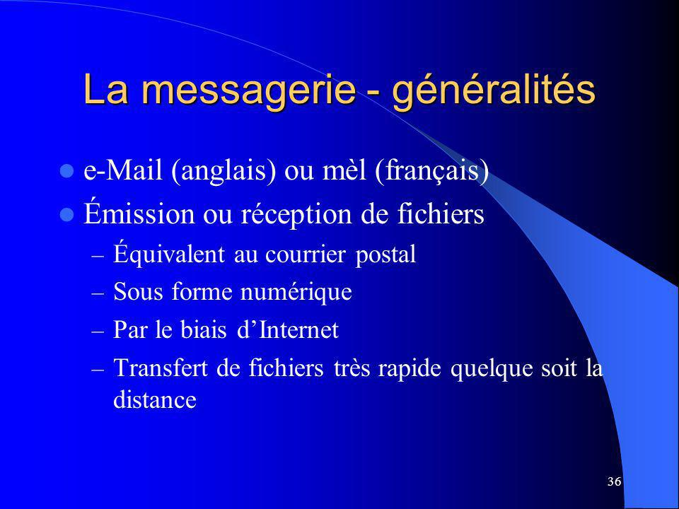 36 La messagerie - généralités e-Mail (anglais) ou mèl (français) Émission ou réception de fichiers – Équivalent au courrier postal – Sous forme numérique – Par le biais dInternet – Transfert de fichiers très rapide quelque soit la distance