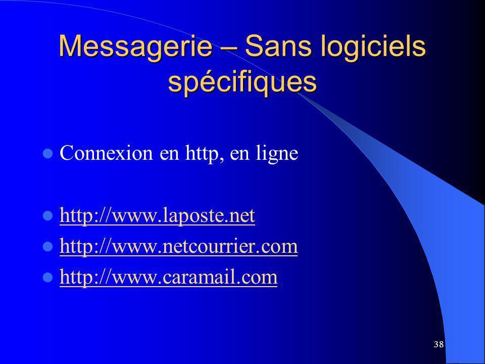 38 Messagerie – Sans logiciels spécifiques Connexion en http, en ligne http://www.laposte.net http://www.netcourrier.com http://www.caramail.com