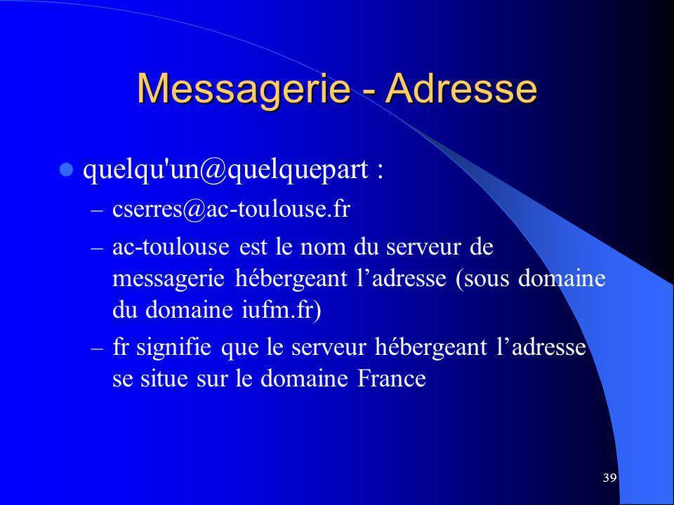 39 Messagerie - Adresse quelqu un@quelquepart : – cserres@ac-toulouse.fr – ac-toulouse est le nom du serveur de messagerie hébergeant ladresse (sous domaine du domaine iufm.fr) – fr signifie que le serveur hébergeant ladresse se situe sur le domaine France