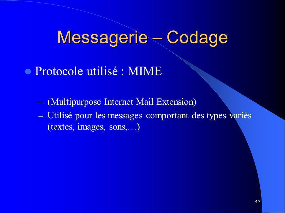 43 Messagerie – Codage Protocole utilisé : MIME – (Multipurpose Internet Mail Extension) – Utilisé pour les messages comportant des types variés (textes, images, sons,…)