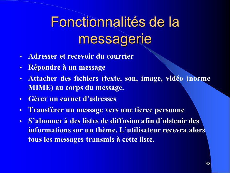 48 Fonctionnalités de la messagerie Adresser et recevoir du courrier Répondre à un message Attacher des fichiers (texte, son, image, vidéo (norme MIME) au corps du message.