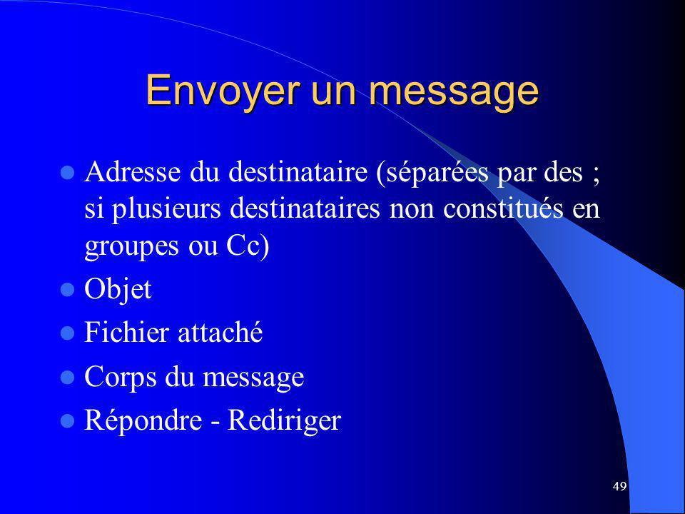 49 Envoyer un message Adresse du destinataire (séparées par des ; si plusieurs destinataires non constitués en groupes ou Cc) Objet Fichier attaché Corps du message Répondre - Rediriger