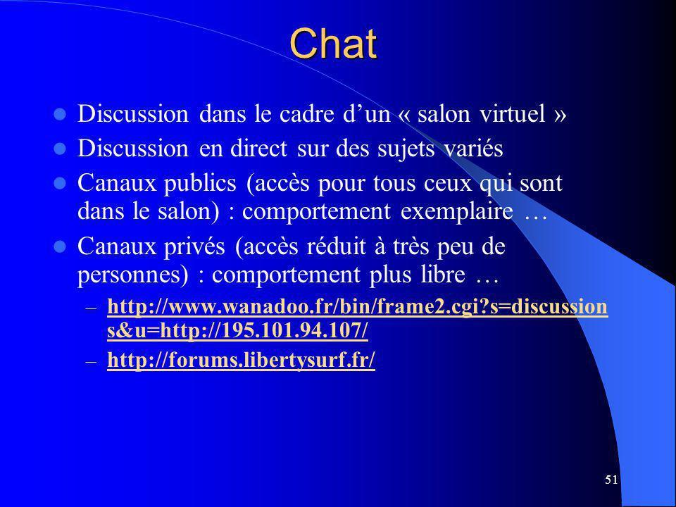 51Chat Discussion dans le cadre dun « salon virtuel » Discussion en direct sur des sujets variés Canaux publics (accès pour tous ceux qui sont dans le salon) : comportement exemplaire … Canaux privés (accès réduit à très peu de personnes) : comportement plus libre … – http://www.wanadoo.fr/bin/frame2.cgi s=discussion s&u=http://195.101.94.107/ http://www.wanadoo.fr/bin/frame2.cgi s=discussion s&u=http://195.101.94.107/ – http://forums.libertysurf.fr/ http://forums.libertysurf.fr/