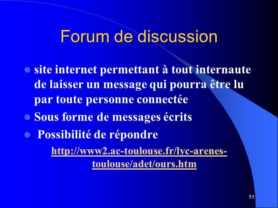 53 Forum de discussion site internet permettant à tout internaute de laisser un message qui pourra être lu par toute personne connectée Sous forme de messages écrits Possibilité de répondre http://www2.ac-toulouse.fr/lyc-arenes- toulouse/adet/ours.htm