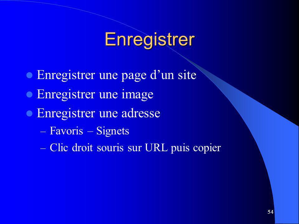 54 Enregistrer Enregistrer une page dun site Enregistrer une image Enregistrer une adresse – Favoris – Signets – Clic droit souris sur URL puis copier