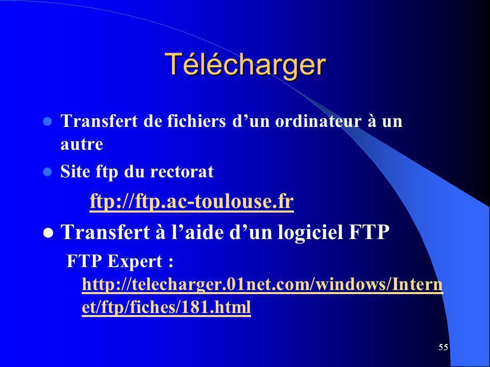 55 Télécharger Transfert de fichiers dun ordinateur à un autre Site ftp du rectorat ftp://ftp.ac-toulouse.fr Transfert à laide dun logiciel FTP FTP Expert : http://telecharger.01net.com/windows/Intern et/ftp/fiches/181.html http://telecharger.01net.com/windows/Intern et/ftp/fiches/181.html