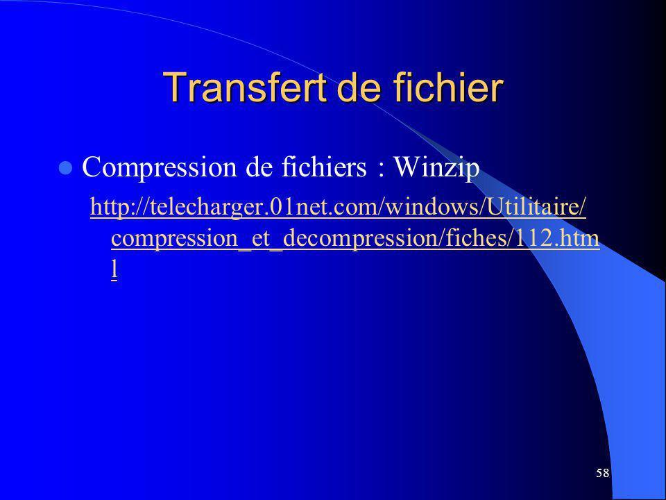58 Transfert de fichier Compression de fichiers : Winzip http://telecharger.01net.com/windows/Utilitaire/ compression_et_decompression/fiches/112.htm l