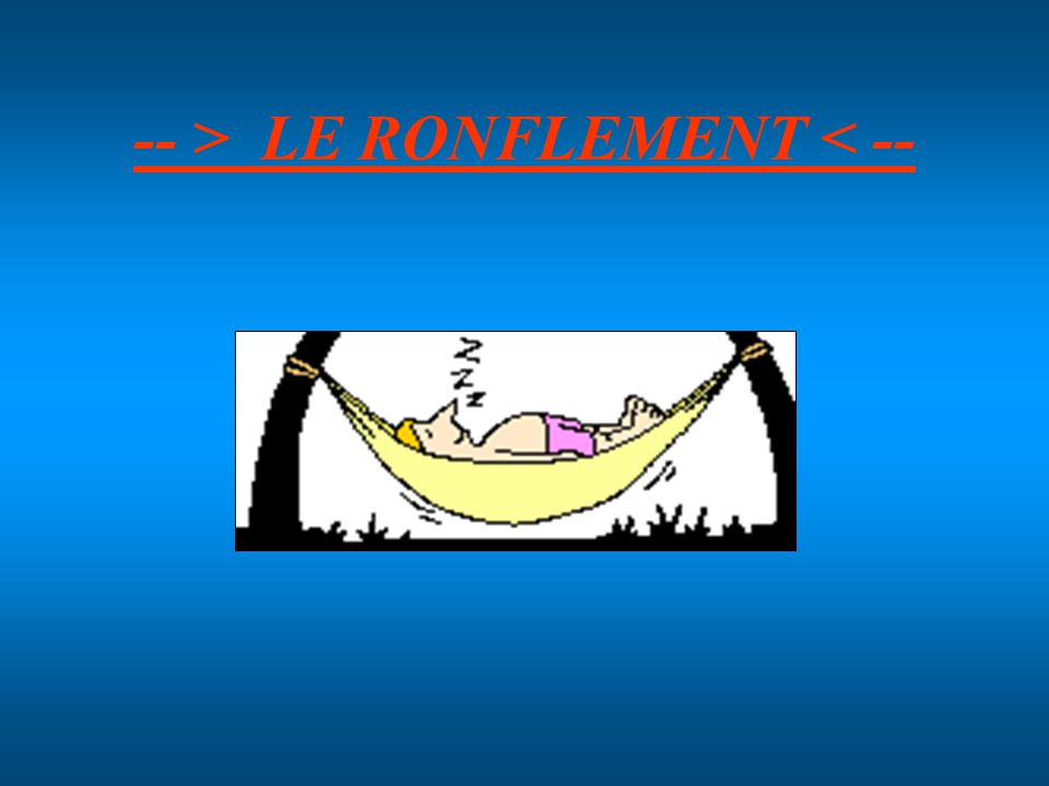 -- > LE RONFLEMENT < --