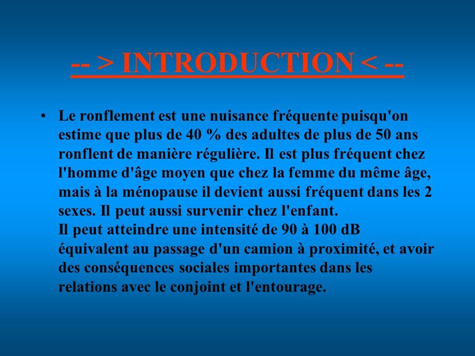 -- > INTRODUCTION < -- Le ronflement est une nuisance fréquente puisqu on estime que plus de 40 % des adultes de plus de 50 ans ronflent de manière régulière.