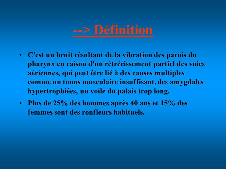--> Définition C est un bruit résultant de la vibration des parois du pharynx en raison d un rétrécissement partiel des voies aériennes, qui peut être lié à des causes multiples comme un tonus musculaire insuffisant, des amygdales hypertrophiées, un voile du palais trop long.