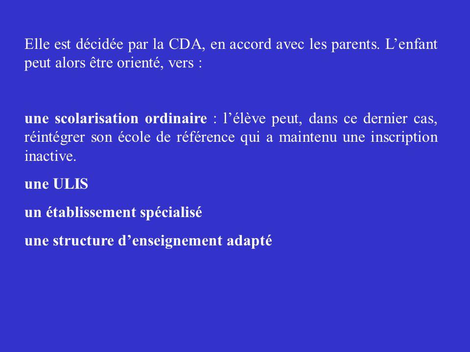 Elle est décidée par la CDA, en accord avec les parents.