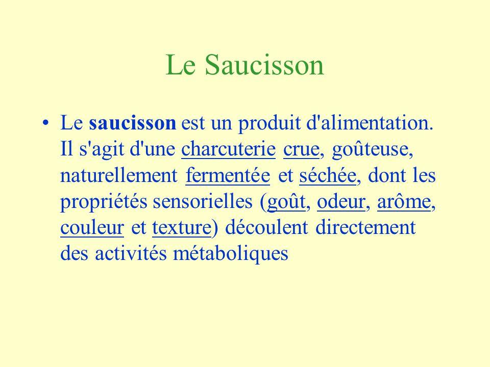 Le Saucisson Le saucisson est un produit d alimentation.