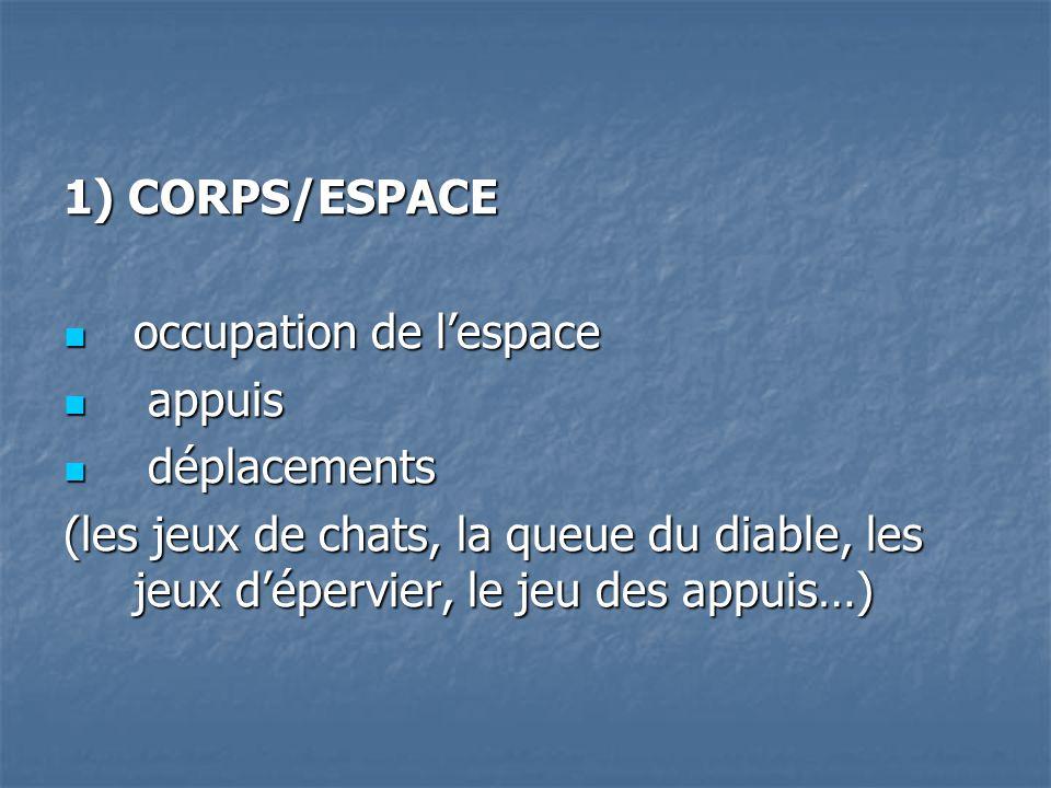 1) CORPS/ESPACE occupation de lespace a appuis d déplacements (les jeux de chats, la queue du diable, les jeux dépervier, le jeu des appuis…)