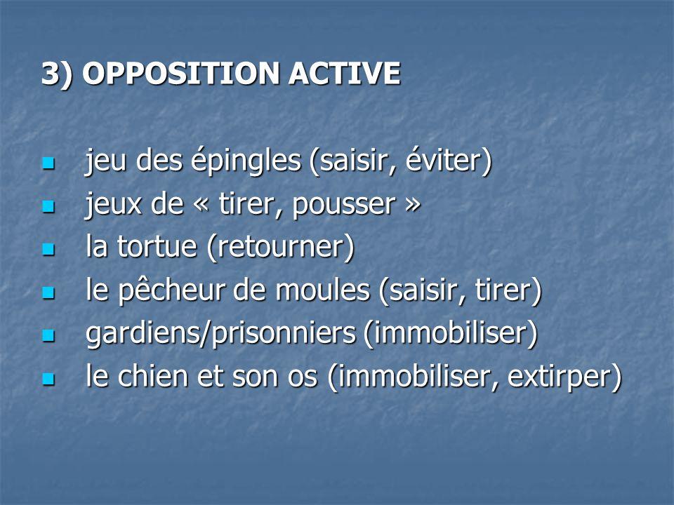 3) OPPOSITION ACTIVE jeu des épingles (saisir, éviter) jeux de « tirer, pousser » la tortue (retourner) le pêcheur de moules (saisir, tirer) gardiens/