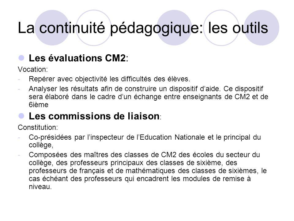La continuité pédagogique: les outils Les évaluations CM2: Vocation: -Repérer avec objectivité les difficultés des élèves. -Analyser les résultats afi