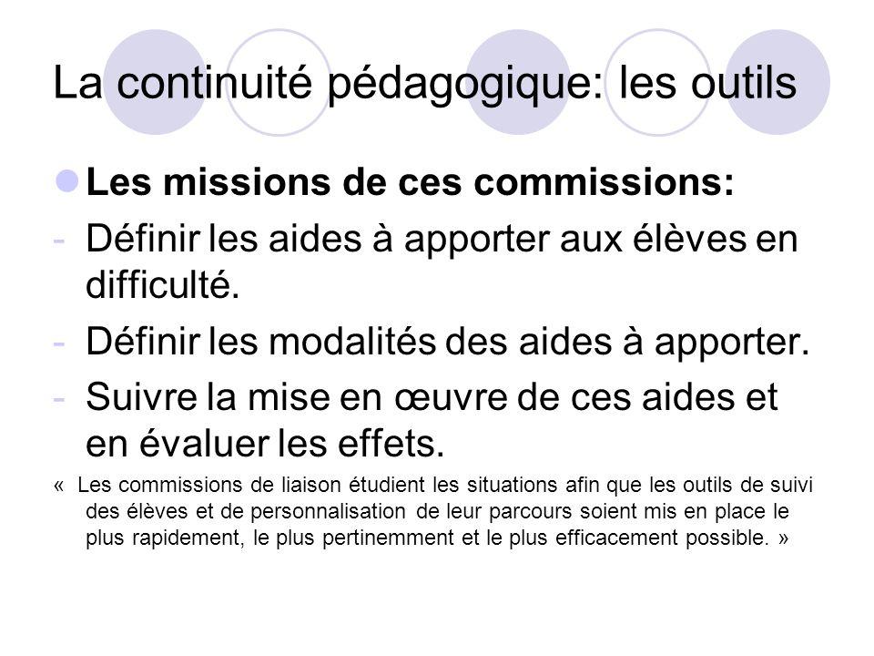 La continuité pédagogique: les outils Les missions de ces commissions: -Définir les aides à apporter aux élèves en difficulté. -Définir les modalités
