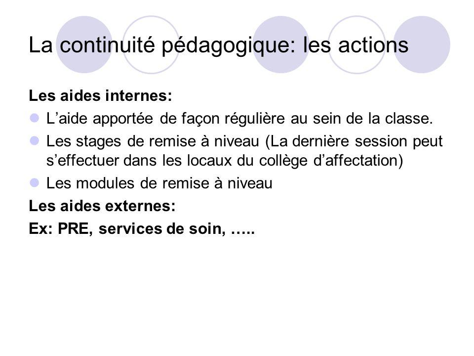 La continuité pédagogique: les actions Les aides internes: Laide apportée de façon régulière au sein de la classe. Les stages de remise à niveau (La d