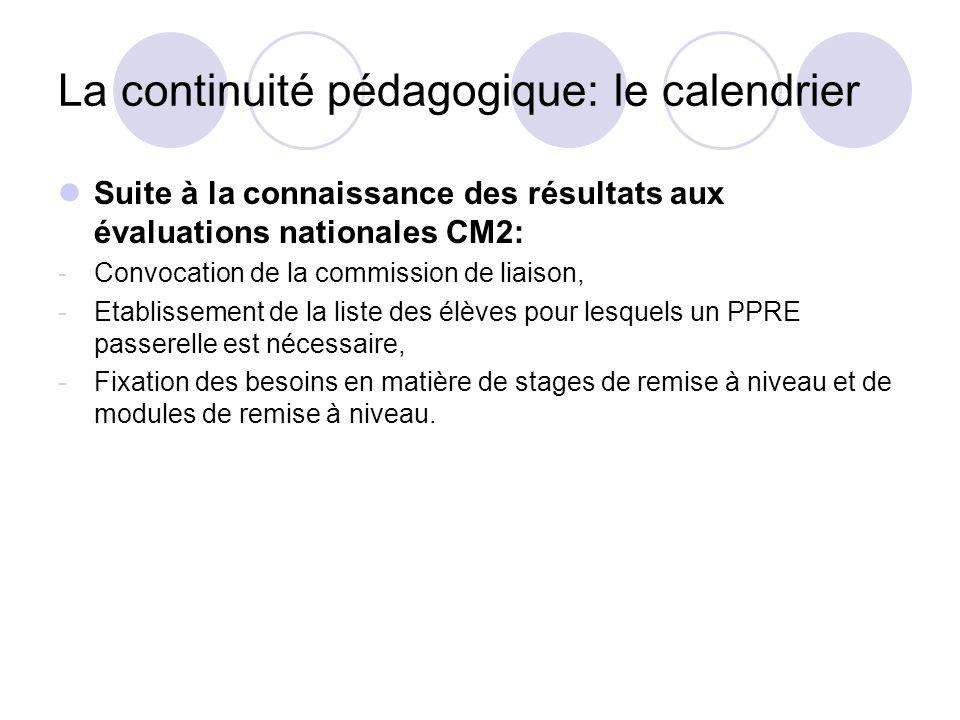 La continuité pédagogique: le calendrier Suite à la connaissance des résultats aux évaluations nationales CM2: -Convocation de la commission de liaiso