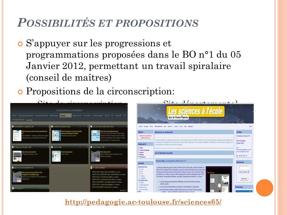 P OSSIBILITÉS ET PROPOSITIONS Sappuyer sur les progressions et programmations proposées dans le BO n°1 du 05 Janvier 2012, permettant un travail spira