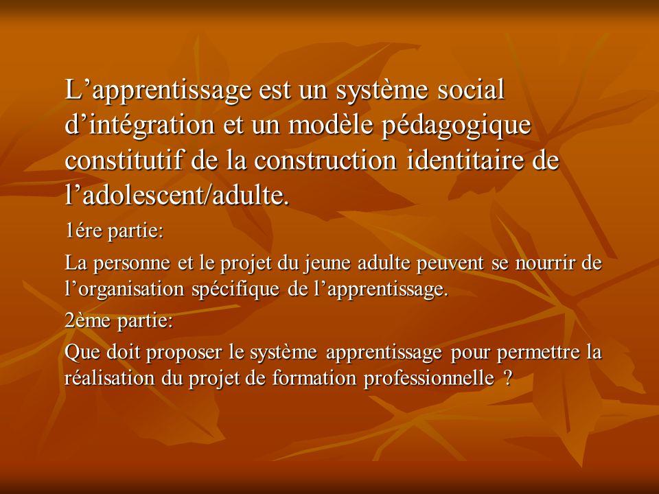 Lapprentissage est un système social dintégration et un modèle pédagogique constitutif de la construction identitaire de ladolescent/adulte.
