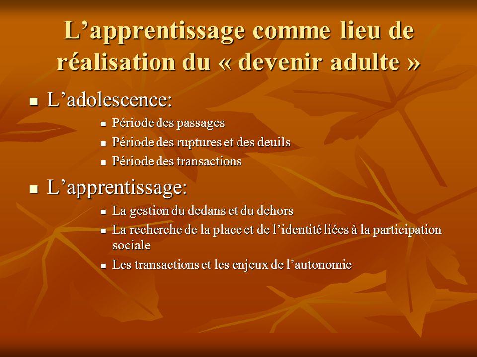 PROPOSITIONS DE DÉFINITIONS Adolescence: cette notion est comprise ici au titre de la crise de personnalisation.
