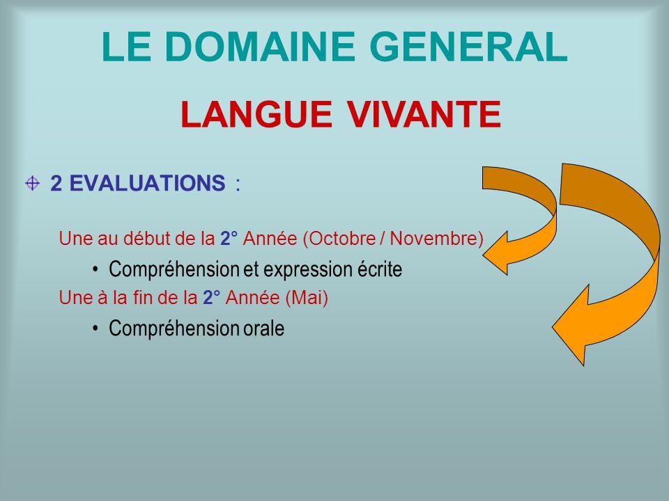 LE DOMAINE GENERAL 2 EVALUATIONS : Une au début de la 2° Année (Octobre / Novembre) Compréhension et expression écrite Une à la fin de la 2° Année (Ma
